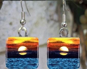Handmade Art Glass Earrings Sea View 23 sunset ocean from painting by L.Dumas