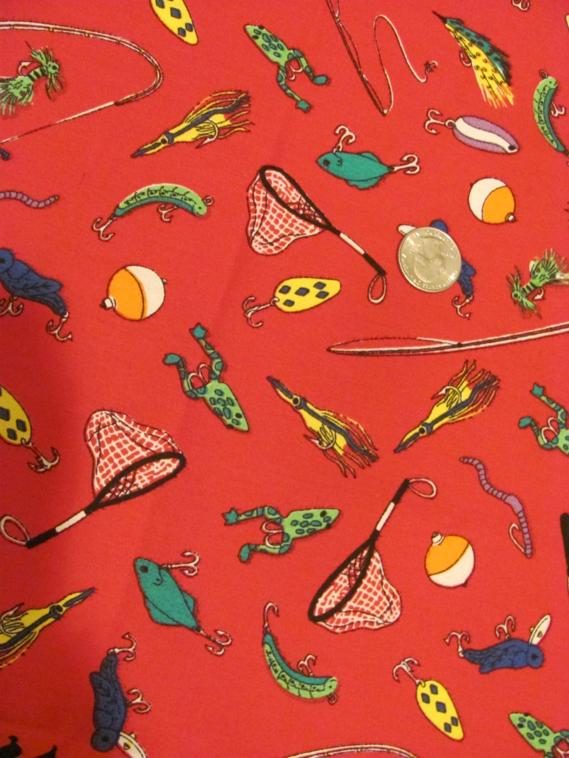 Fishing theme fabric yardage heavier cotton by thisplusthat for Fishing themed fabric
