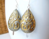 Metallic Gold and Silver Gray Earrings, Ornate Teardrop Etched Dangles Wedding Gift Box - Under 25