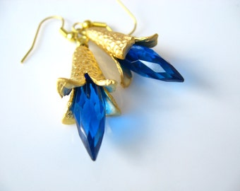 Electric Blue Earrings  Faceted Teal Drop Briolette Dangles  Matte Gold Petal Bead Caps  Dramatic, Feminine  Gift Box