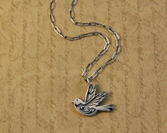 Fine Silver Whimsical Bird Charm Pendant Necklace - as featured on The Pioneer Woman