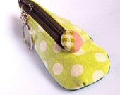 Mini shoe coin pouch keychain - white dots on lime