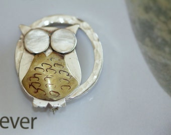 Made to order/Cheeky night owl sterling silver and brass handmade at Norita Designs