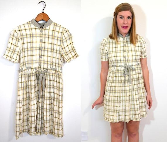 Cream Plaid Dress -Tartan Dress - Cream Dress -Beige Dress - Grunge Dress - Yellow Dress