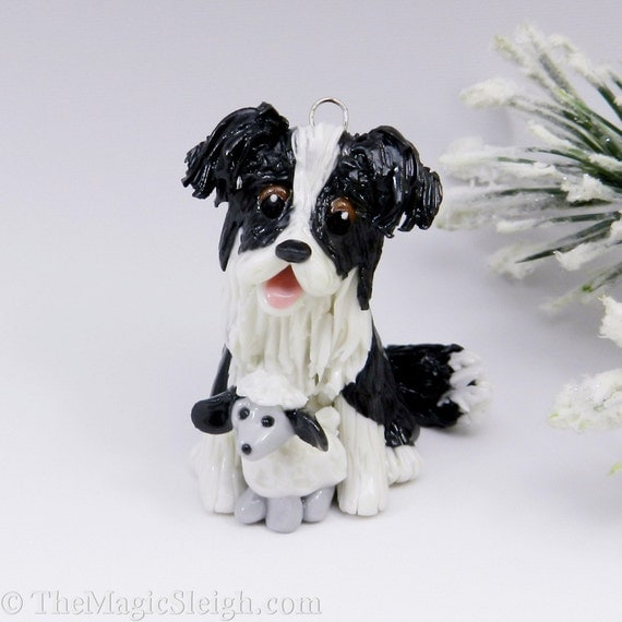Border Collie Ornament  Sheep Toy Porcelain