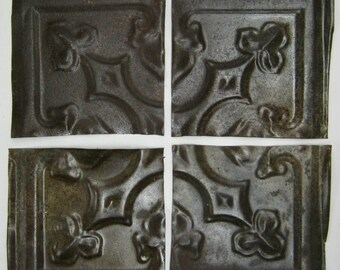 AUTHENTIC Tin Ceiling RUST 6x6 Set of 4 Crafts Art Tiles S 1235-13