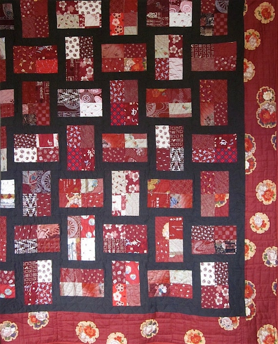 Patchwork Quilt King size red and brown by kallistiquilts on Etsy