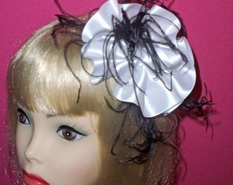 Sale, Was 48.00 now 32.00 White and Black Fascinator by Taissa Lada Designs,Bridal Headpiece,Old Hollywood Inspired Satin and Feather Clip