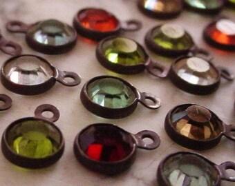24 Tiny 4mm Swarovski Crystal Channel Vintage Mini Drops Charm 17ss Round 1 Ring Loop Setting Hand Oxidized Brass Dark Bronze Patina Lot 4K