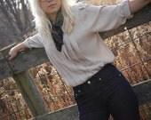 Vintage taupe pleated blouse