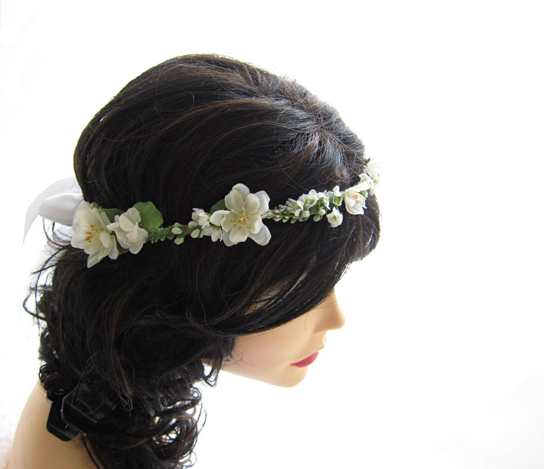 Wedding White Ivory Flower Head Wreath Headband