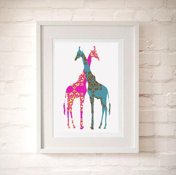 Two loving giraffes -  Kids Art Prints, nursery decoration ideas, nursery, baby nursery decor, jungle nursery decor, nursery giraffe art