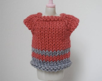 SALE - Blythe Top - Coral and Grey Short Sleeved Sweater