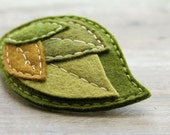 Large Moss Felt Leaf Barrette // Woodland Hair Accessory for Women // Hand Stitched by OrdinaryMommy on Etsy