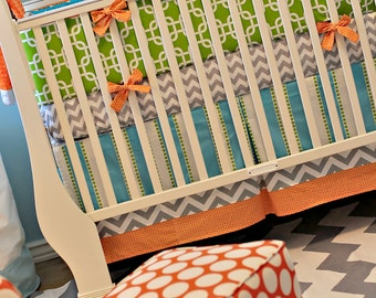 Turquoise, Aqua, Lime and Orange Custom Crib Baby Bedding You Design