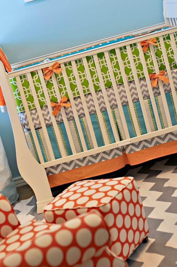 Crib Skirt with 2 Bottom Bands - Custom Baby Bedding Orange aqua Lime