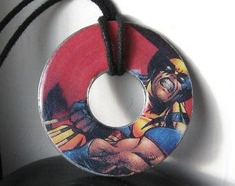 X-Men WOLVERINE Vintage Upcycled Comic Book Washer Pendant Necklace Marvel Comics