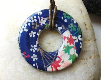 Gorgeous Deep Blue Collage Fan Designer Upcycled Origami Papers Washer Hardware Pendant Necklace