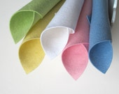 Wool Felt, Baby Doll Color Story, 8x12 Inch Sheets, Pastel Squares, DIY Baby Crafts, Spring Colors, Light Green, Yellow, Blue, Pink, White
