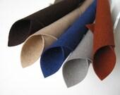 100% Wool, Felt Fabric, Cowboy Color Story, Pure Merino Wool, Five Sheet Set, Felt Squares, Dark Brown, Beige, Navy Blue, Bronze, Smoke