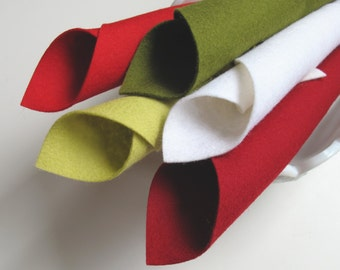 Wool Felt, 100% Merino, Apple Color Story, 8x12 Sheets, Dark Red, Olive, White, Yellow Green, Red, Felt Fruit, Applique, Waldorf Crafts