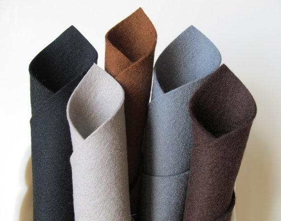 100% Wool, Felt Fabric Sheets, Dark Naturals Color Story, Brown, Gray, Black, Smoke, Slate, Wool Applique, Primitive, Felt Squares