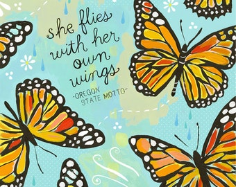 She Flies With Her Own Wings Paper Print   Inspirational Wall Art   Hand Lettering   Butterfly Art   Katie Daisy