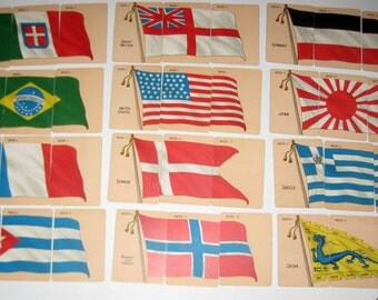 Antique (1903) Card Game - Game of Flags of All Nations - by McLoughlin Brothers