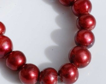 Large Hole Pearl Round Pearl Freshwater Pearl deep red pearl AA 7-8mm with 2.5mm hole---10 pc high quality  #LH8003