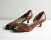 10 DOLLAR SALE  //  1980s pink and brown metallic peep toe heels, 8