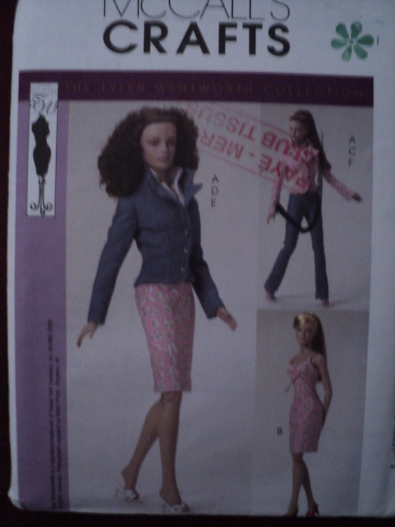 sewing pattern 4860 fashion doll fashion designer clothing 15.5 doll clothing