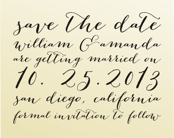 SAVE THE DATE Cute Self Inking Stamp, Cute Wedding Calligraphy Font, Custom Wedding Planning Stationary (6052)