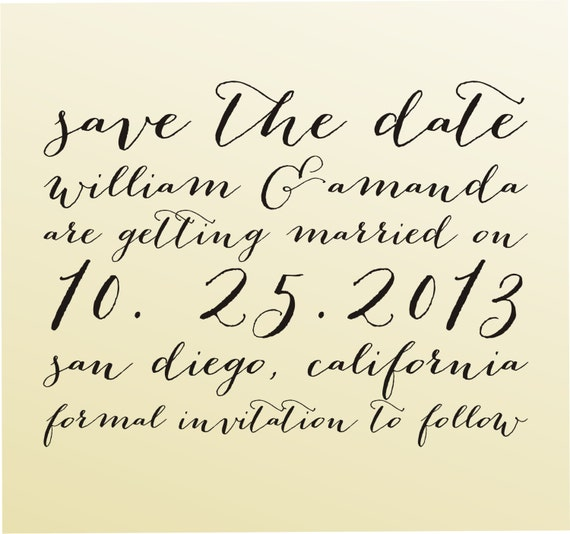 SAVE THE DATE Cute Self Inking Stamp Cute Wedding Calligraphy