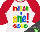 First 1st birthday ball primary color theme birthday party let's have a ball RAGLAN shirt
