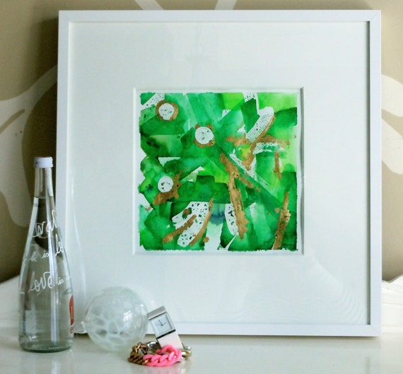 Emerald Green Original Watercolor Painting - Original Abstract - Malachite -  Wall Art - 12x12