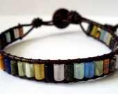 Leather wrap bracelet - tiny rainbow mixed stone with button closure