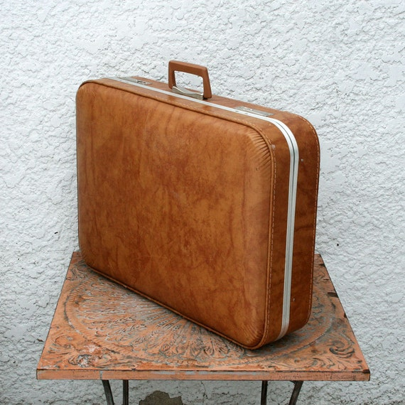 Large Vintage Suitcase - Light Brown with Aluminum Trim and Silver-toned Hardware