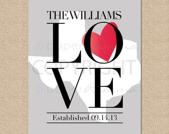 State Love Artwork, Valentines Day Gift for Him, Custom State Art, Valentines Day Gift Ideas // Choose ArtPrint or Canvas // W-G10-1PS QQ4