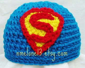 SuperMan crochet hat  0 to 10 years old 25% off Black Friday & Ciber Monday
