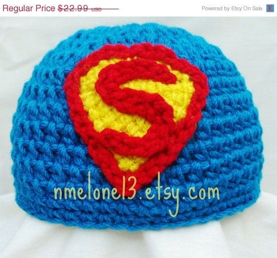 Items similar to SuperMan crochet hat 0 to 10 years old 25 ...