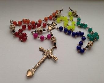Dias de Los Muertos Rosary Beads, Handcrafted, Bronze