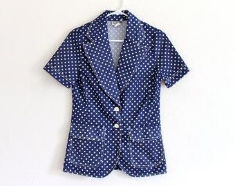 70s Campus Casuals Navy White Polkadot Boho Hippie Collar Secretary Shirt Blouse Top. XS . S . D154 . No.335.6.5.13