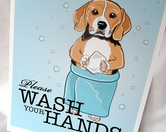 Beagle Wash Your Hands Print - Eco-Friendly 8x10 Size
