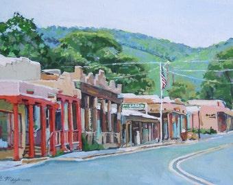 Taos New Mexico Painting, Kit Carson Road Southwest Painting 8x10 print Gwen Meyerson Adobe landscape Southwestern Art.