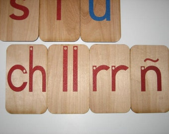 """Lowercase Sandpaper Letters Spanish on 3""""x5"""" birch wood"""