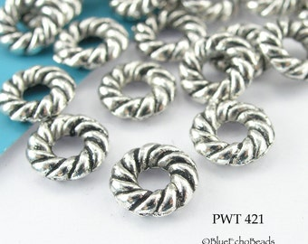 8mm Pewter Beads, Antique Silver, Small Twisted Rings (PWT 421) 25 pcs BlueEchoBeads