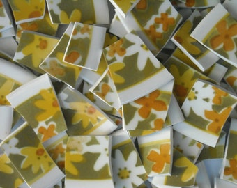Floral Handcut Mosaic Tiles from Plates J2