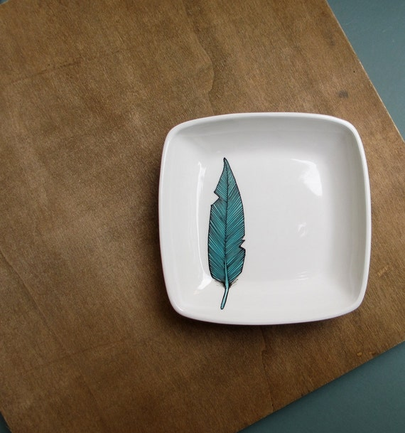 Blue bird feather square dish, woodland fall home decor, tribal feather dish by catherinereece