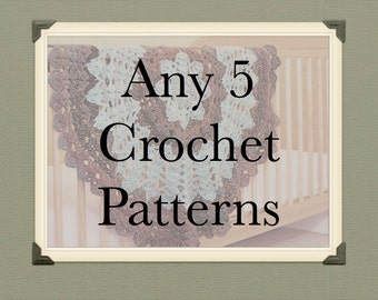Crochet Patterns - Any 5 Patterns from TheHappyCrocheter