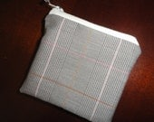 Pin striped COIN PURSE with zipper